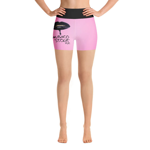 Hot Pink Yoga Shorts (Lips in Black)
