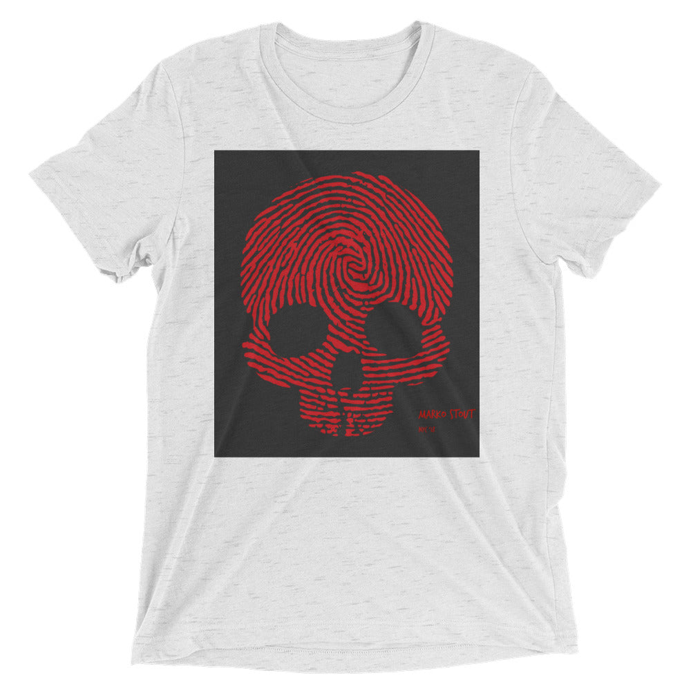 """Fingerprint Skull in Red"" Short Sleeve Crew Neck"