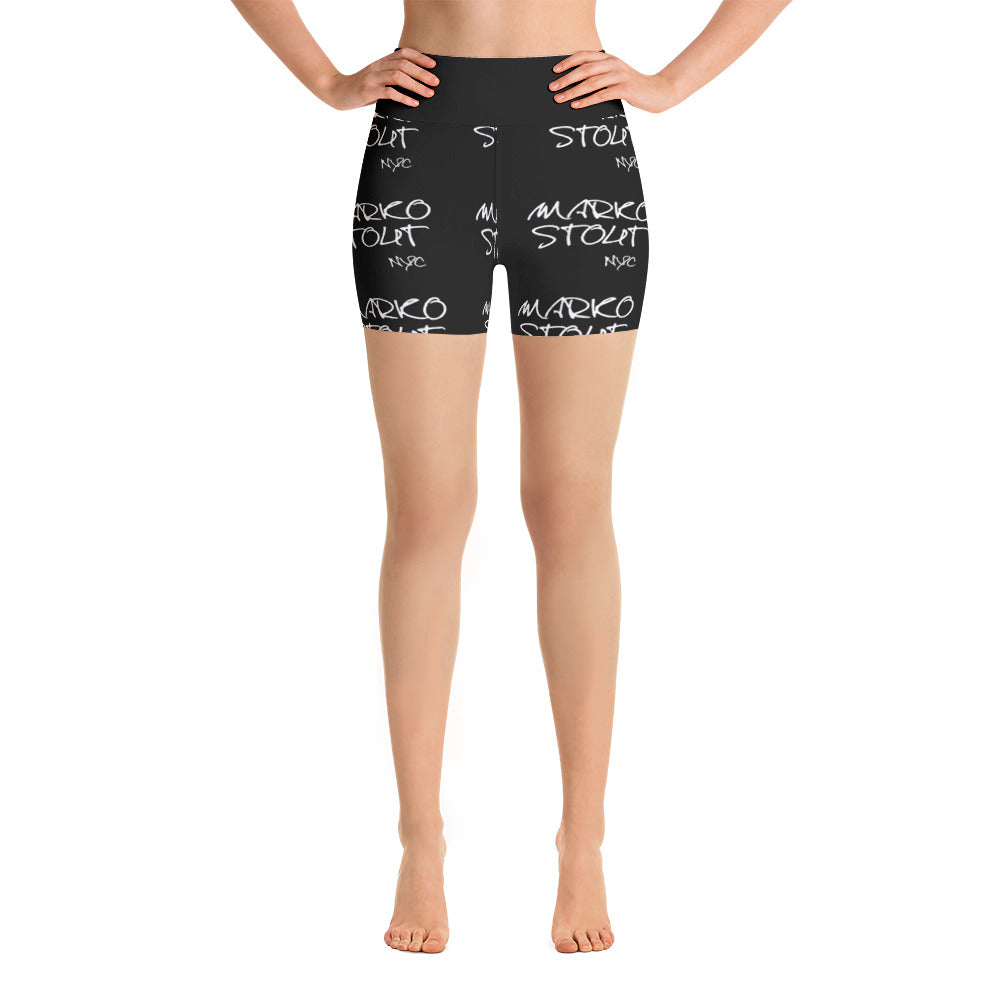 "Yoga Shorts Black Waist ""Marko Stout Logo"""