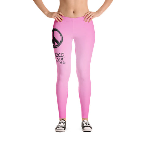 Hot Pink Leggings (Peace Sign in Black Marker)