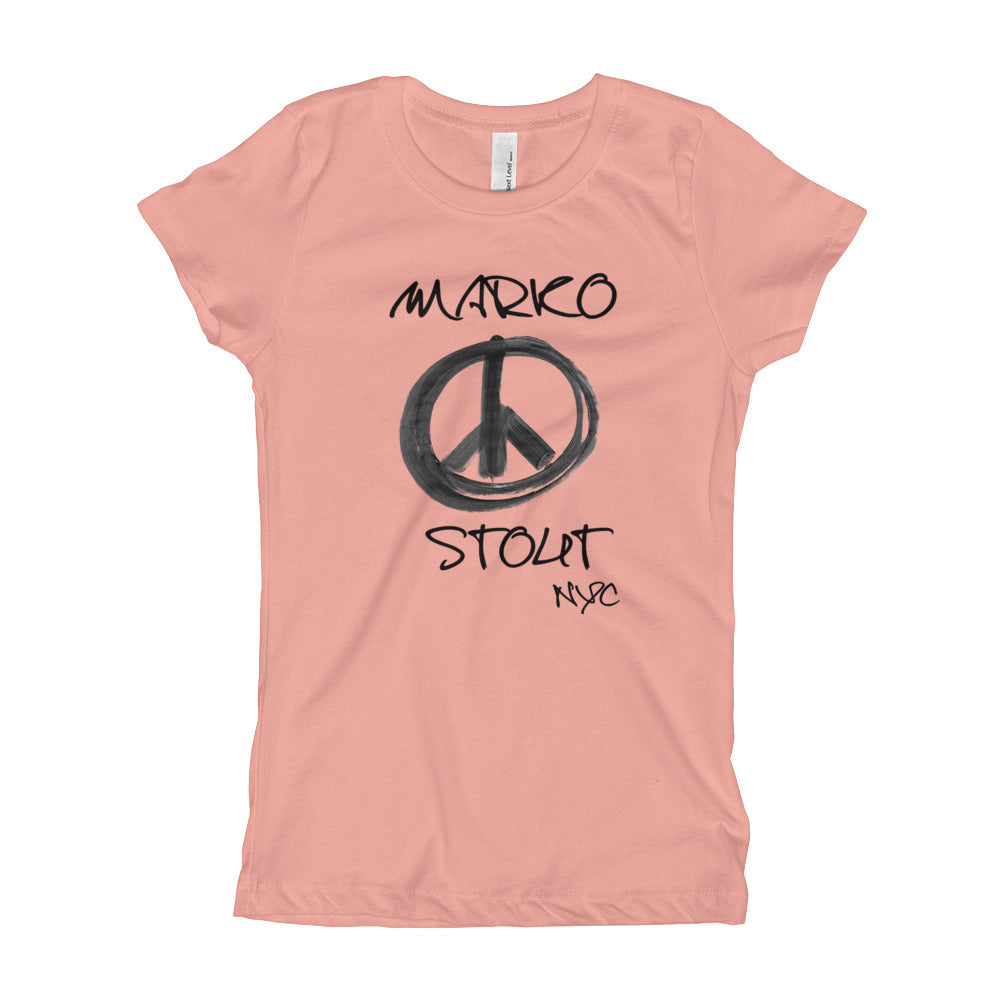 Young Girl's T-Shirt (Peace Sign in Black Marker)