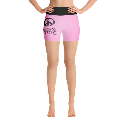 Hot Pink Yoga Shorts (Black Maker Peace Sign)