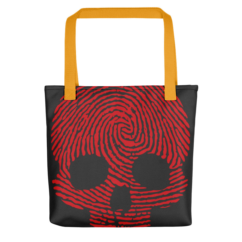 """Fingerprint Skull in Red"" Tote"