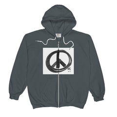 Unisex  Zip Hoodie (Peace Sign in Black Marker)