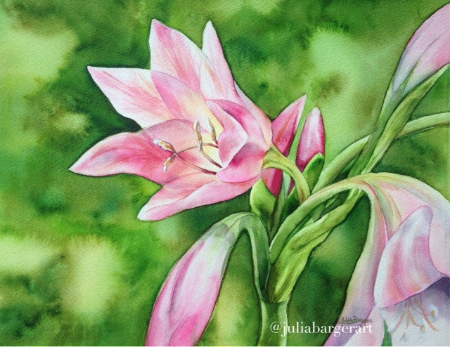 lilies, flower, original, watercolor