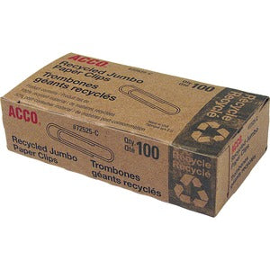 Acco Recycled Paper Clips (Box of 100)