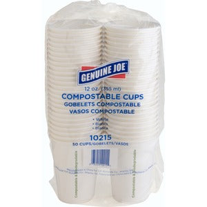 Genuine Joe Compostable Paper Hot Cups (Pack of 50)
