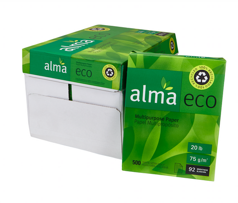 100% Recycled Copy Paper - Alma Eco (Carton of 10 Reams - Each 500 Sheets)