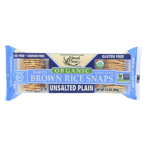 Edward and Sons Brown Rice Snaps - Unsalted Plain - Case of 12 - 3.5 oz.