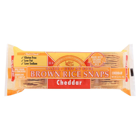 Edward and Sons Brown Rice Snaps - Cheddar - Case of 12 - 3.5 oz.