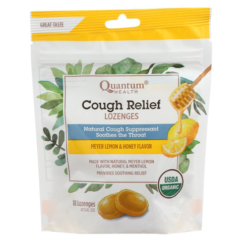 Quantum Research Organic Cough Relief Lozenges - Meyer Lemon & Honey - 18 count