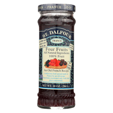 St Dalfour Fruit Spread - Deluxe - 100 Percent Fruit - Four Fruits - 10 oz - Case of 6