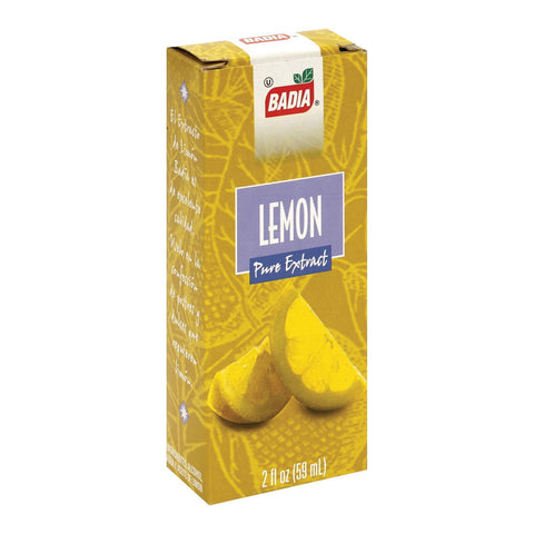 Badia Spices Pure Extract Lemon - Case of 12 - 2 Fl oz.