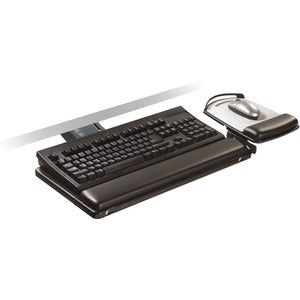 3M Sit/Stand Easy Adjust Keyboard Tray, Adj Platform, Gel Wrists, Precise Mouse Pad