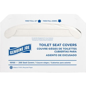 Genuine Joe Toilet Seat Covers (Carton of 10 Packs - 250 Each)