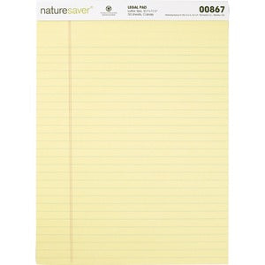 Nature Saver 100% Recycled Canary Legal Ruled Pads (Pack of 12)