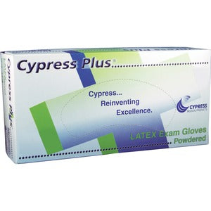 Cypress Plus Lightly Powdered Smooth Latex Examination Gloves - Large Size - Latex - Powdered - For Healthcare Working - 100 / Box (Box of 1)