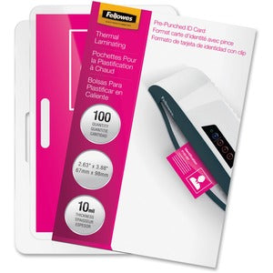 Fellowes Glossy Pouches - ID Tag punched, 10 mil, 100 pack (Pack of  )