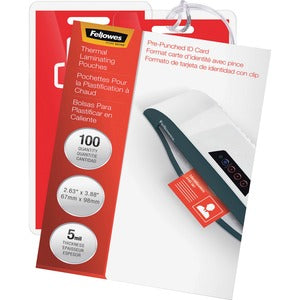 Fellowes Glossy Pouches - ID Tag punched, 5 mil, 100 pack (Pack of  )
