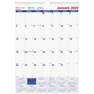 Rediform 1PPM Lined Block Monthly Wall Calendars (Set of 12)