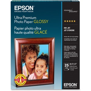 "Epson Ultra Premium Photo Paper - Letter - 8 1/2"" x 11"" - Glossy - 50 / Pack - Bright White (Pack of 5 Sheets)"