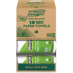 Marcal 2 Ply U-size-It Paper Towel Rolls (12 rolls of 140 Sheets)