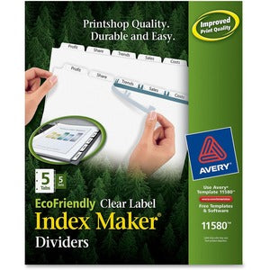 Avery Eco-friendly Index Makers Dividers - 5 Tabs - (5 Sets)