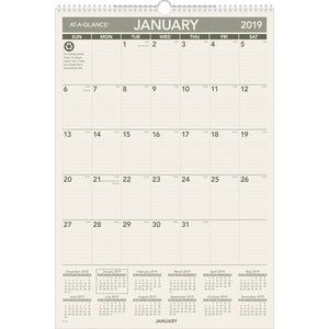 At-A-Glance 1PPM Recycled Mthly Wall Calendar