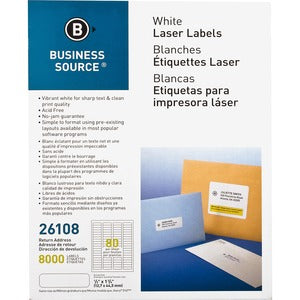 Business Source Address Laser Labels (Pack of 8)