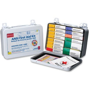 "First Aid Only 16-unit ANSI First Aid Kit - 103 x Piece(s) For 16 x Individual(s) - 6.3"" Height x 9.1"" Width x 2.4"" Depth - Metal Case - 1 Each"
