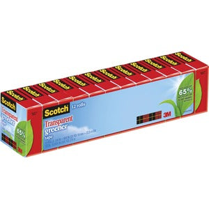 3M Scotch Eco-Friendly Transparent Tape (Pack of 12)