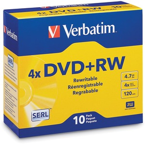 Verbatim DVD+RW 4.7GB 4X with Branded Surface - 10pk Jewel Case (Pack of 1)