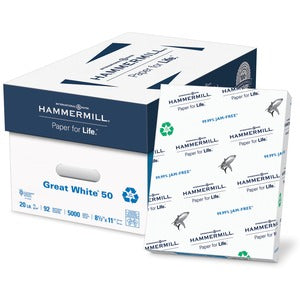 50% Recycled Copy Paper - Hammermill (5000 Sheets)