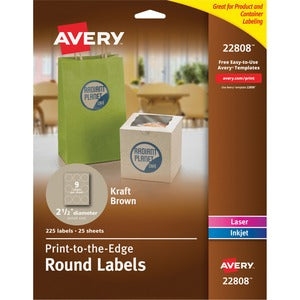 Avery Kraft Brown Print-to-the-Edge Round Labels (Pack of 180)