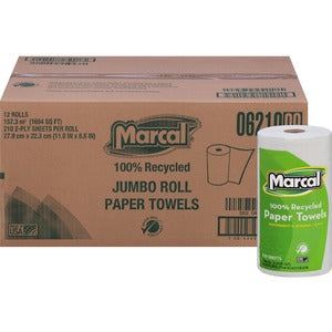 Marcal Jumbo 2 Ply Paper Towels (12 rolls of 210 Sheets)