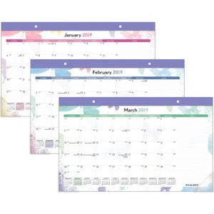 At-A-Glance Watercolors Monthly Desk Pad