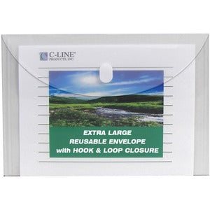 C-Line Products Reusable Poly Envelope, Side Load, Clear, 5/PK (Pack of 5)