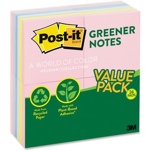 3M Post-it Sunwashed Greener Notes 3x3 (24 Pads of 100)