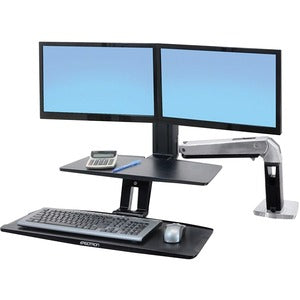 "Ergotron 2439226 WorkFit-A Dual Monitor Stand - Up to 24"" Screen Support - 25 lb Load Capacity - Flat Panel Display Type Supported - 10.5"" Height x 35.8"" Width - Desktop - Polished - Aluminum - Black"