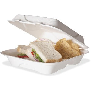 "Eco-Products 9"" x 9"" x 3"" 3-Compartment Hinged Sugarcane Clamshell (Carton of 2 Packs - Each 50)"