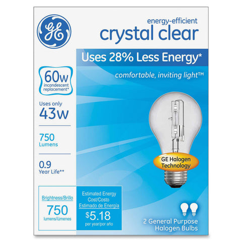 GE Lighting Energy-efficient Clear 43W Bulb (Box of 2)