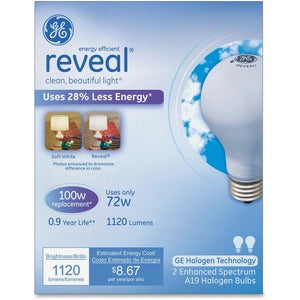 GE Lighting Reveal 72W A19 Halogen Bulb (Carton of 6 Boxes)