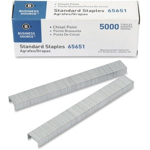 Business Source Chisel Point Standard Staples (Pack of 5 Boxes)