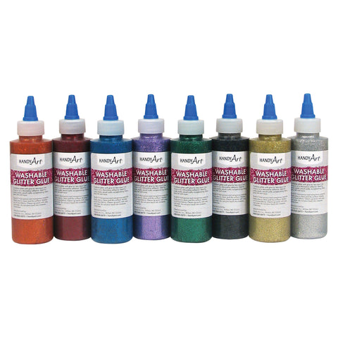 Handy Art Washable Glitter Glue (Set of 8 Bottles)