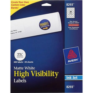 Avery&reg White Round High Visibility Labels (Pack of  )