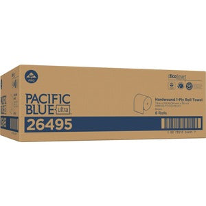 "Pacific Blue Ultra 8"" High-Capacity Recycled Paper Towel Roll by GP PRO (Carton of 6 Rolls)"