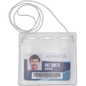 Advantus Horizontal ID Card Holder with Neck Cord (Pack of 25)