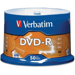 Verbatim AZO DVD-R 4.7GB 16X with Branded Surface - 50pk Spindle (Pack of  )