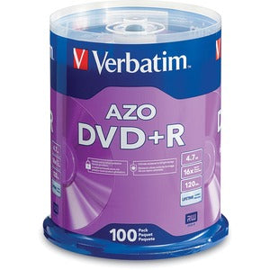 Verbatim AZO DVD+R 4.7GB 16X with Branded Surface - 100pk Spindle (Pack of 1)