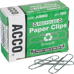 ACCO 100% Recycled Jumbo Paper Clips (Pack of 1000)